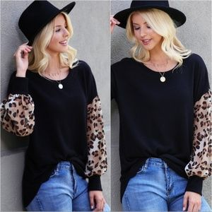 Black Leopard Long Sleeve Tunic